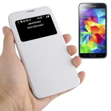 Horizontal Flip Leather Case with Call Display ID for Galaxy S5 / G900(White)