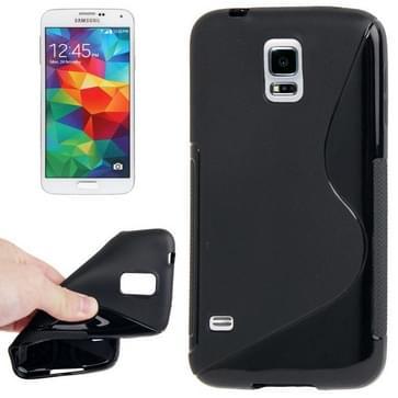 Samsung Galaxy S5 / G900 anti-slip S-vormig beschermend TPU back cover Hoesje (zwart)
