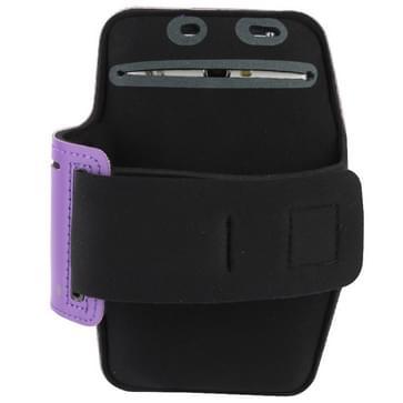 universeel PU Sports Armband hoesje met Koptelefoon Hole voor Samsung Galaxy Note 4 / N910 / Note III / N9000 / II / N7100 / i9220 / N7000 /  N7005 / Sony Z2 / Z1(paars)