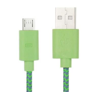Nylon Netting Style Micro 5 Pin USB Data Transfer / Charge Cable for Galaxy S IV / i9500 / S III / i9300 / Note II / N7100 / Nokia / HTC / Blackberry / Sony  Length: 1m(Green)