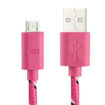 Nylon Netting Style Micro 5 Pin USB Data Transfer / Charge Cable for Galaxy S IV / i9500 / S III / i9300 / Note II / N7100 / Nokia / HTC / Blackberry / Sony  Length: 1m(Magenta)