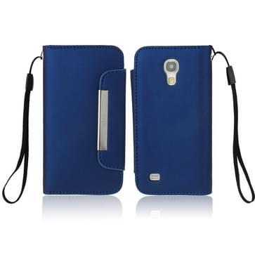 So Fit Series lederen hoesje met opbergruimte voor pinpassen opberg vakjes & Lanyard voor Samsung Galaxy S IV mini / i9190 (donker blauw)