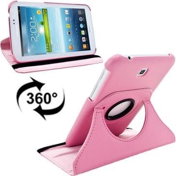 360 graden draaibaar Lichi structuur lederen hoesje met houder voor Samsung Galaxy Tab 3 (7.0) / P3200 / P3210(roze)