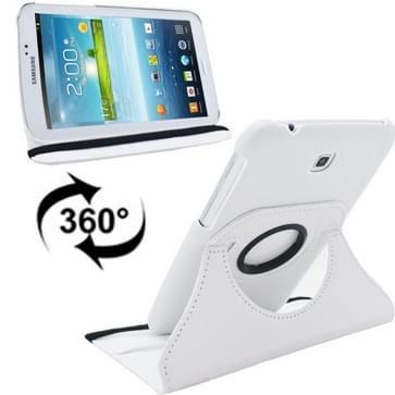 360 graden draaibaar Lichi structuur lederen hoesje met houder voor Samsung Galaxy Tab 3 (7.0) / P3200 / P3210wit