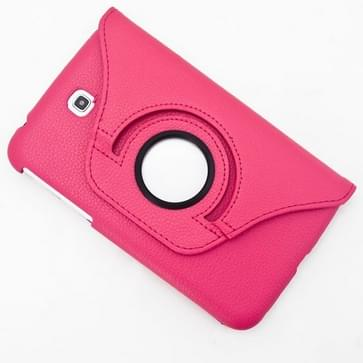 360 graden draaibaar Lichi structuur lederen hoesje met houder voor Samsung Galaxy Tab 3 (7.0) / P3200 / P3210(hard roze)