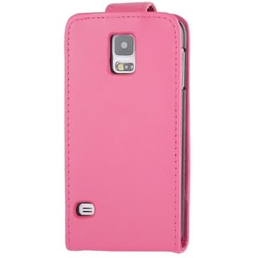 Vertical Flip lederen hoesje met opbergruimte voor pinpassen opberg vakje voor Samsung Galaxy S5 / G900(hard roze)