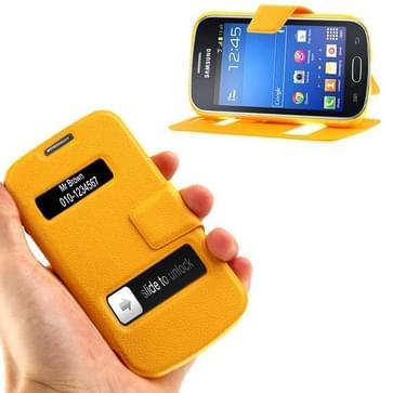 Galaxy Trend Lite / S7390 / S7392 horizontaal PU leren Flip Hoesje met houder en handige kijkvensters (Oranje)