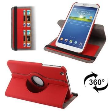 360 graden draaiend Denim structuur lederen hoesje met opbergruimte voor pinpassen opberg vakje voor Samsung Galaxy Tab 3 (8.0) / T3100 / T3110(rood)