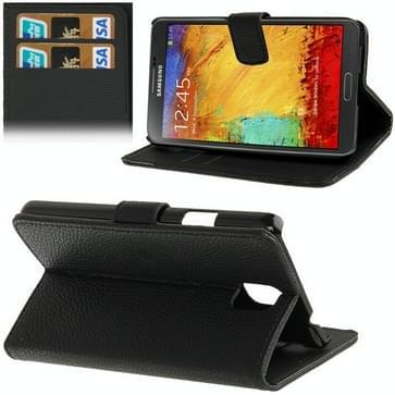 Litchi structuur lederen hoesje met opbergruimte voor pinpassen opberg vakjes & houder voor Samsung Galaxy Note III / N9000  (zwart)