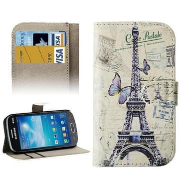 Samsung Galaxy Trend Lite / S7390 horizontaal Eiffeltoren en vlinder patroon PU leren Hoesje met houder en opbergruimte voor pinpassen & geld