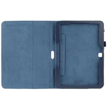 Litchi structuur Flip lederen hoesje met houder voor Samsung Galaxy Tab 4 10.1 / T530 (donker blauw)