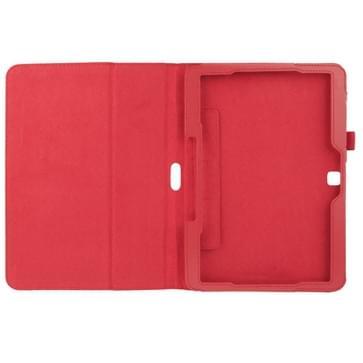 Litchi structuur Flip lederen hoesje met houder voor Samsung Galaxy Tab 4 10.1 / T530 (rood)