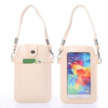 Universeel PU leren draagtas met transparant cover, draagriem, metalen sluiting en extra opbergruimte, is geschikt voor o.a. iPhone 6 / Samsung S7 (beige)