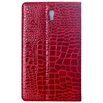krokodil structuur Flip lederen hoesje met houder voor Samsung Galaxy Tab S 8.4 / T700(rood)