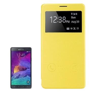 horizontaal Flip lederen hoesje met Oproepweergave ID voor Samsung Galaxy Note 4(geel)