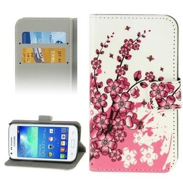 Samsung Galaxy Core Plus / G3500 horizontaal Kersen bloesem patroon PU leren Flip Hoesje met houder en opbergruimte voor pinpassen & geld