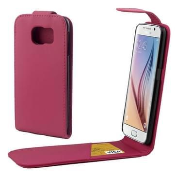 Kleurrijk Verticale Flip hoes met magnetische sluiting lederen hoesje voor Samsung Galaxy S6 / G920(hard roze)
