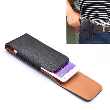 Univeral 5 inch Vertical Style Litchi structuur lederen hoesje / Waist Bag met Back Splint voor Samsung Galaxy S6 & S5, Grand Duos I9082(zwart)