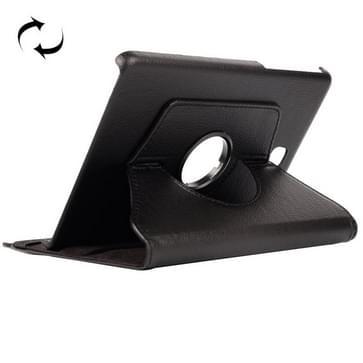 Samsung Galaxy Tab A 8.0 / T350 horizontaal Litchi structuur PU leren Flip Hoesje met 360 graden draaiende houder (zwart)