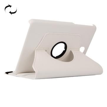 Samsung Galaxy Tab A 8.0 / T350 horizontaal Litchi structuur PU leren Flip Hoesje met 360 graden draaiende houder Wit