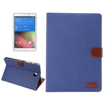 Samsung Galaxy Tab A 8.0 / T350 horizontaal Tweekleurig Jeans structuur PU leren Flip Hoesje met houder en opbergruimte voor pinpassen & geld (donker blauw)