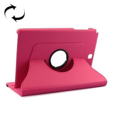 Samsung Galaxy Tab A 9.7 / P550 Litchi structuur 360 graden draaiend PU leren Flip Hoesje met houder (hard roze)