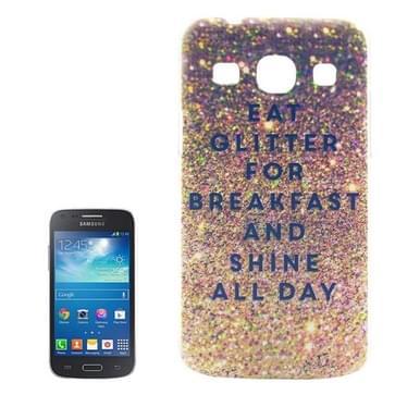 Eat Glitter Voor Breakfast And Shine All Day patroon Transparant Frame Gekleurde tekening PC hoesje voor Samsung Galaxy Core Plus / G3500