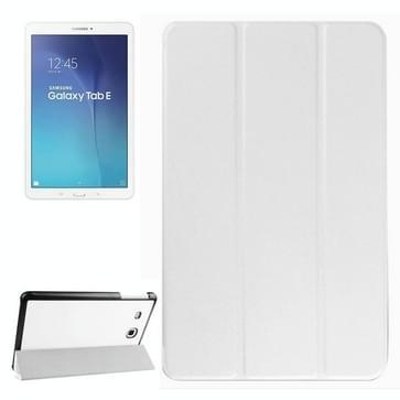 Samsung Galaxy Tab E 9.6 horizontaal PU leren Flip Hoesje met drievouws houder Wit