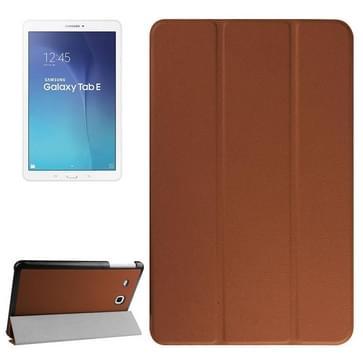 Samsung Galaxy Tab E 9.6 horizontaal PU leren Flip Hoesje met drievouws houder (bruin)