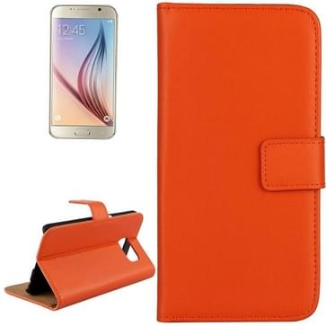 Samsung Galaxy S6 / G920 horizontaal Koeienhuid structuur PU leren Flip Hoesje met houder en opbergruimte voor pinpassen (Oranje)