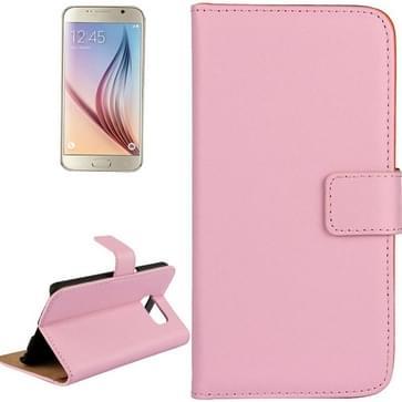 Samsung Galaxy S6 / G920 horizontaal Koeienhuid structuur PU leren Flip Hoesje met houder en opbergruimte voor pinpassen (roze)