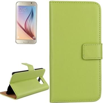 Samsung Galaxy S6 / G920 horizontaal Koeienhuid structuur PU leren Flip Hoesje met houder en opbergruimte voor pinpassen (groen)