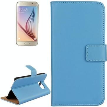 Samsung Galaxy S6 / G920 horizontaal Koeienhuid structuur PU leren Flip Hoesje met houder en opbergruimte voor pinpassen (blauw)