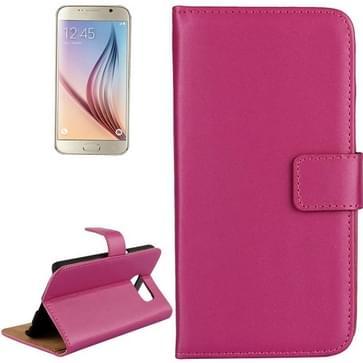 Samsung Galaxy S6 / G920 horizontaal Koeienhuid structuur PU leren Flip Hoesje met houder en opbergruimte voor pinpassen (hard roze)