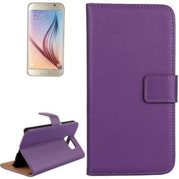 Samsung Galaxy S6 / G920 horizontaal Koeienhuid structuur PU leren Flip Hoesje met houder en opbergruimte voor pinpassen (paars)