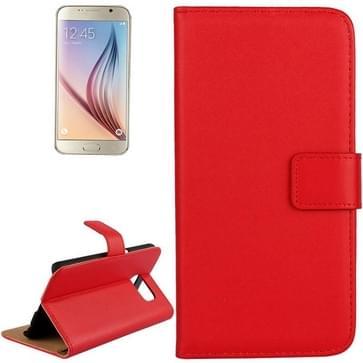 Samsung Galaxy S6 / G920 horizontaal Koeienhuid structuur PU leren Flip Hoesje met houder en opbergruimte voor pinpassen (rood)