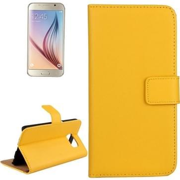 Samsung Galaxy S6 / G920 horizontaal Koeienhuid structuur PU leren Flip Hoesje met houder en opbergruimte voor pinpassen (geel)