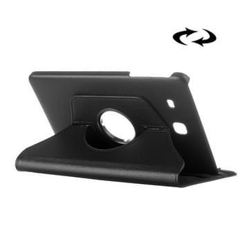 Samsung Galaxy Tab E 9.6 horizontaal Litchi structuur PU leren Flip Hoesje met 360 graden draaiende houder (zwart)