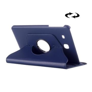 Samsung Galaxy Tab E 9.6 horizontaal Litchi structuur PU leren Flip Hoesje met 360 graden draaiende houder (donker blauw)