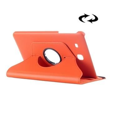 Samsung Galaxy Tab E 9.6 horizontaal Litchi structuur PU leren Flip Hoesje met 360 graden draaiende houder (Oranje)