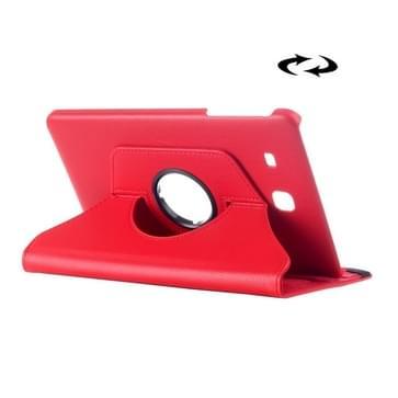 Samsung Galaxy Tab E 9.6 horizontaal Litchi structuur PU leren Flip Hoesje met 360 graden draaiende houder (rood)