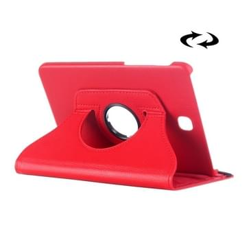 Samsung Galaxy Tab E 8.0 horizontaal Litchi structuur PU leren Flip Hoesje met 360 graden draaiende houder (rood)
