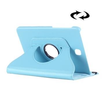 Samsung Galaxy Tab E 8.0 horizontaal Litchi structuur PU leren Flip Hoesje met 360 graden draaiende houder (baby blauw)