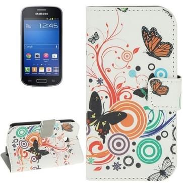 Samsung Galaxy Trend Lite / S7390 horizontaal Kunstig vlinders patroon PU leren Flip Hoesje met houder  magnetische sluiting en opbergruimte voor pinpassen & geld