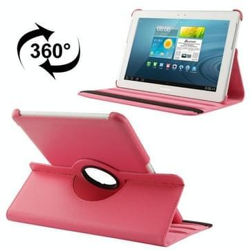 360 graden draaiend Litchi structuur lederen hoesje met houder voor Samsung Galaxy Tab 2 (10.1) / P5100(hard roze)
