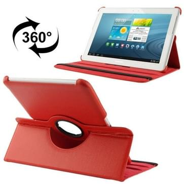 360 graden draaiend Litchi structuur lederen hoesje met houder voor Samsung Galaxy Tab 2 (10.1) / P5100(rood)