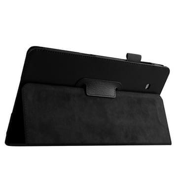 Samsung Galaxy Tab E 9.6 / T560 horizontaal Litchi structuur PU leren Flip Hoesje met houder (zwart)