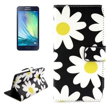 Samsung Galaxy A3 / A300 horizontaal Chrysanten patroon PU leren Flip Hoesje met houder en opbergruimte voor pinpassen & geld