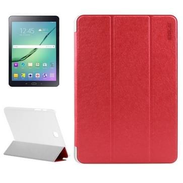 Samsung Galaxy Tab S2 8.0 / T715 horizontaal Zijde structuur PU leren ENKAY Flip Hoesje met drievouws houder en doorschijnend back cover (rood)