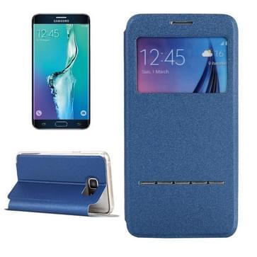 Samsung Galaxy S6 Edge+ horizontaal PU leren Flip Hoesje met houder en handig kijkvenster (blauw)